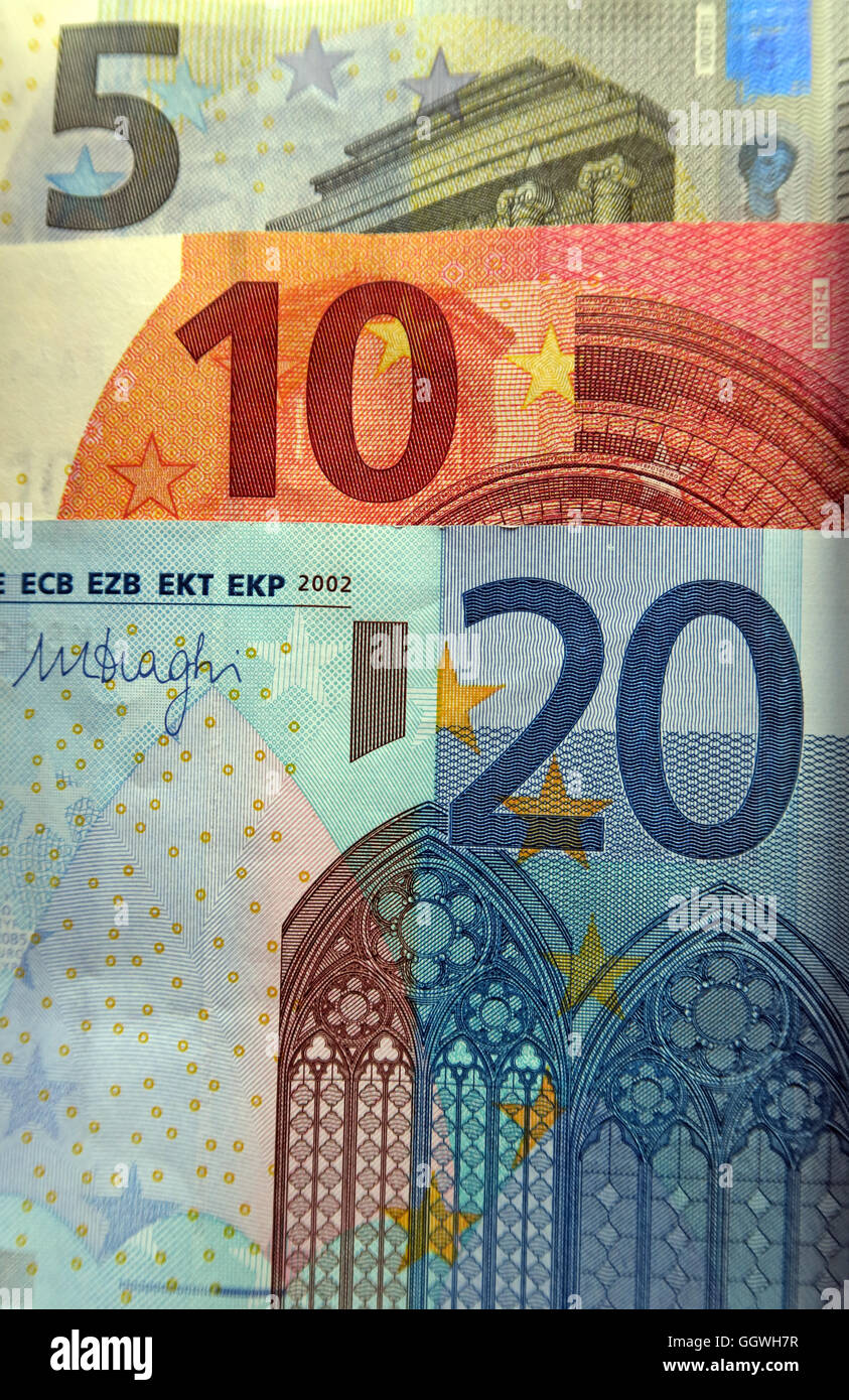 Five, Ten & Twenty Euro notes - Stock Image