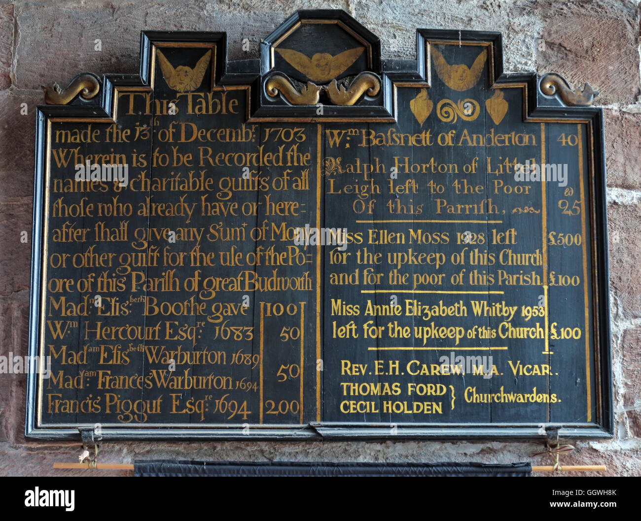St Marys & All Saints Church Gt Budworth Interior, Cheshire, England,UK- Charitable gifts board - Stock Image