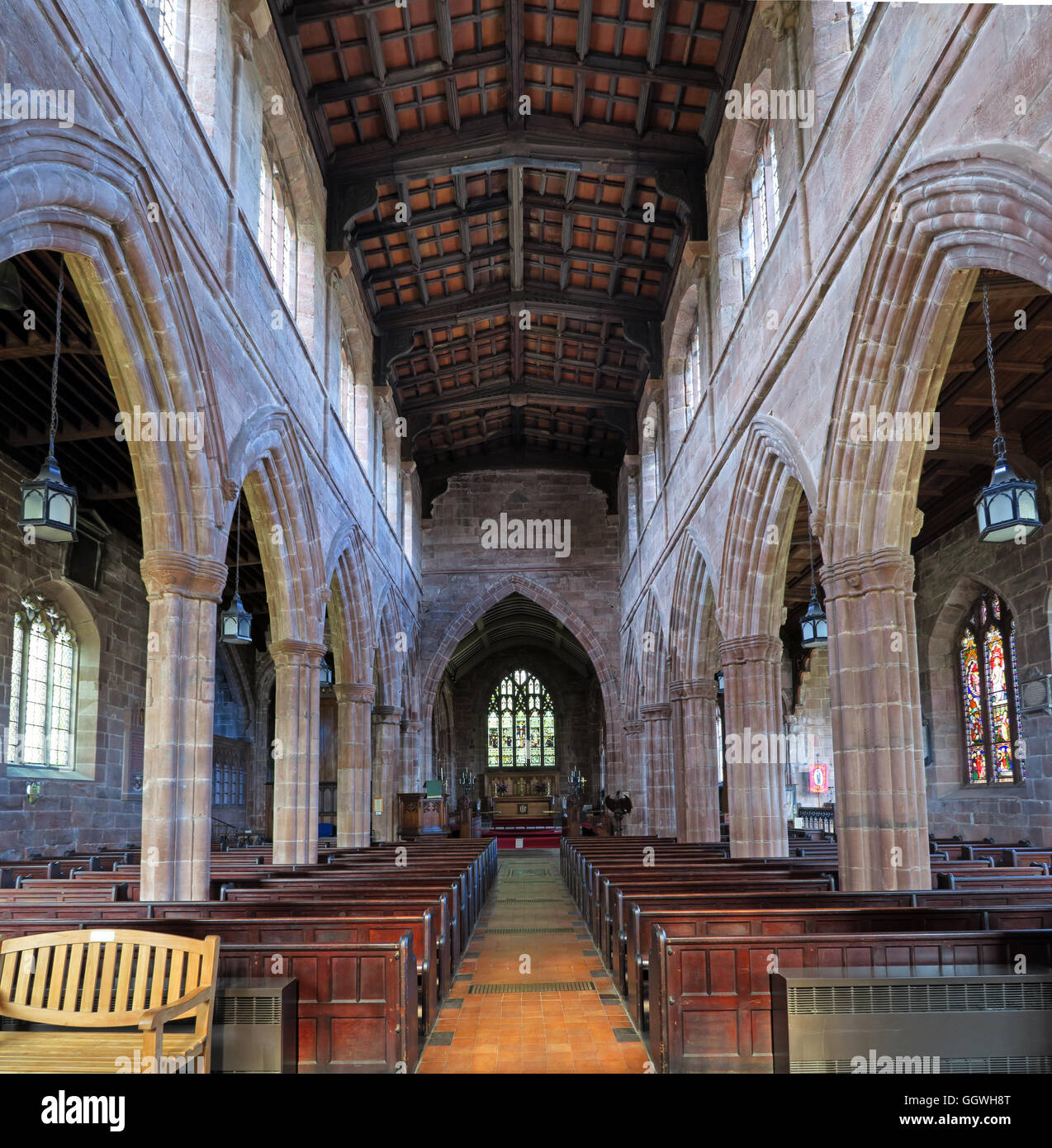 St Marys & All Saints Church Gt Budworth Interior, Cheshire, England,UK - view to altar - Stock Image