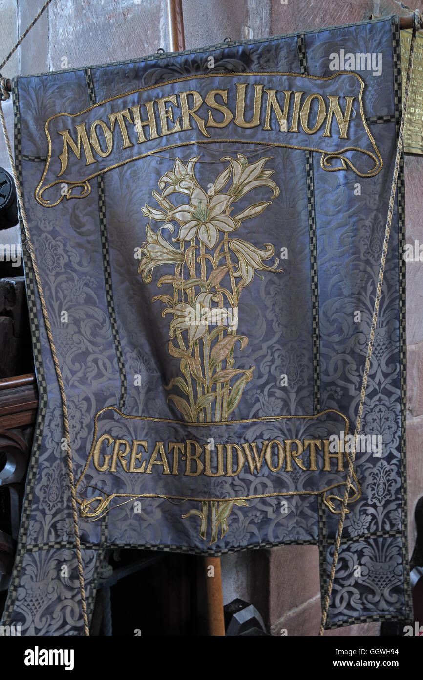 St Marys & All Saints Church Gt Budworth Interior, Cheshire, England,UK - Mothers union banner - Stock Image