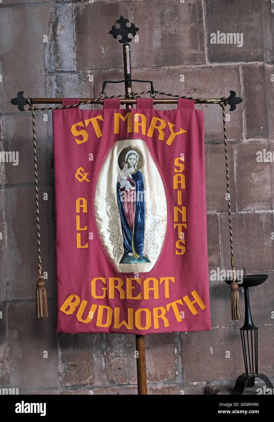 St Marys & All Saints Church Gt Budworth Interior, Cheshire, England,UK - walking banner Stock Photo