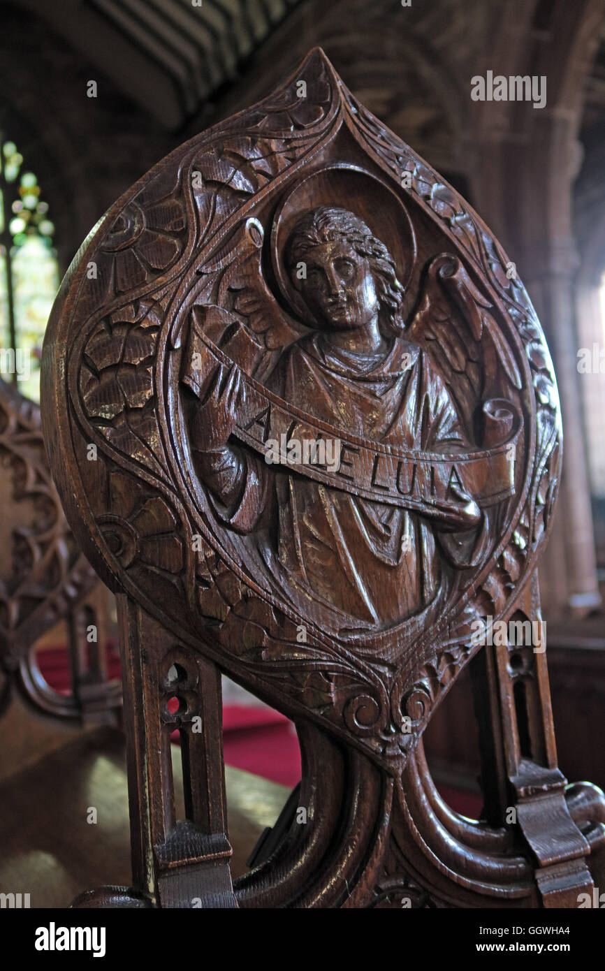 St Marys & All Saints Church Gt Budworth Interior, Cheshire, England,UK - Wooden Alleluia carving - Stock Image
