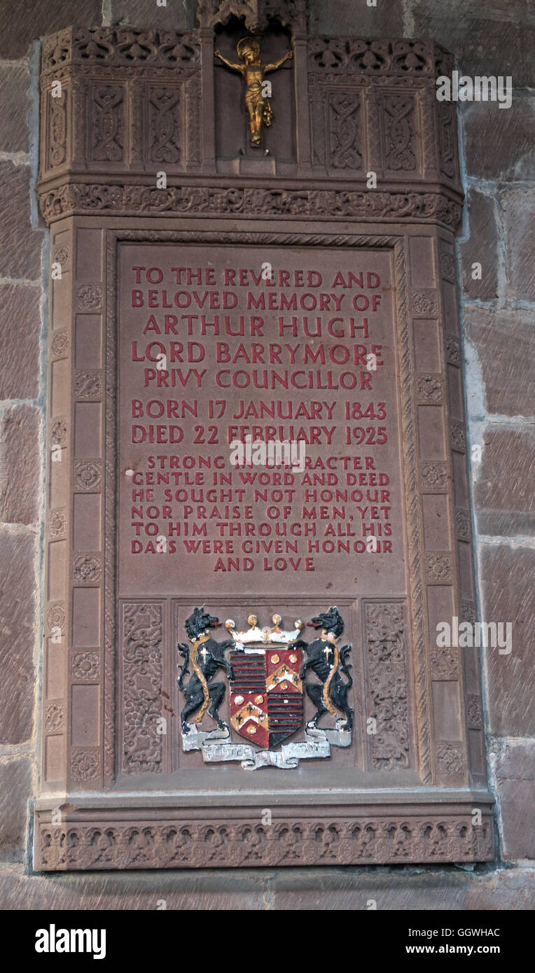 St Marys & All Saints Church Gt Budworth Interior, Cheshire, England,UK- Arthur Hugh Lord Barrymore - Stock Image
