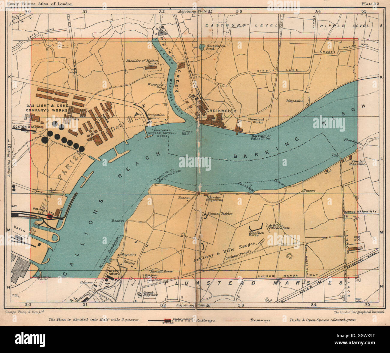 E LONDON. Creekmouth Thamesmead Plumstead Marshes Gallions Reach, 1932 old map Stock Photo