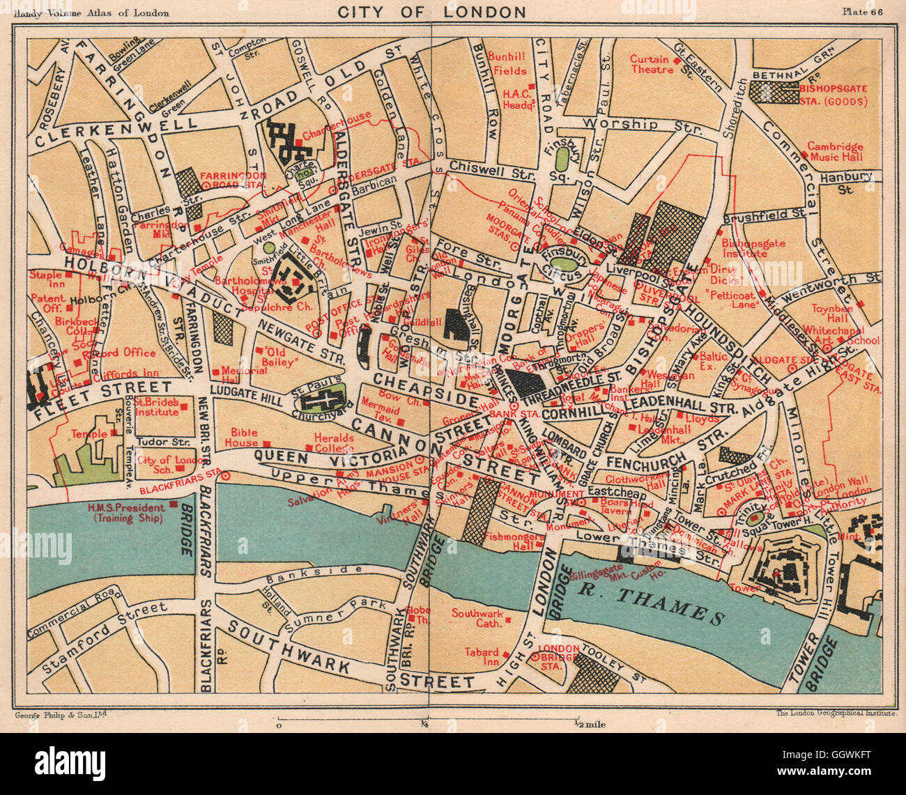 CITY OF LONDON. Public buildings Livery companies Exchanges Embassies, 1932 map - Stock Image