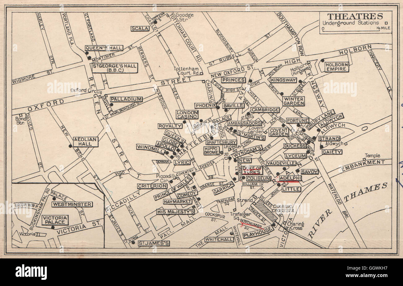 West End Theatres London Map.London West End Theatres Covent Garden St James S Shaftesbury Stock