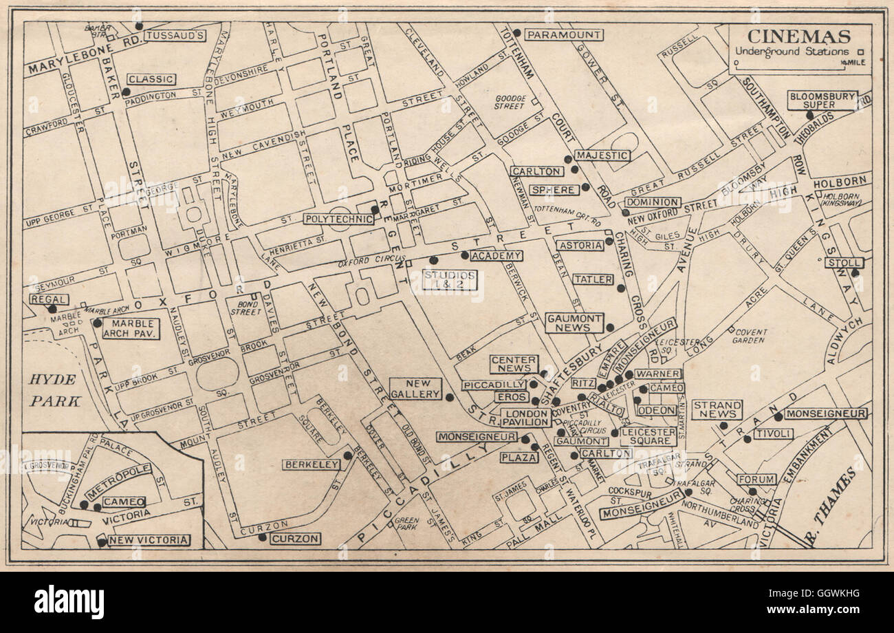 West End Theatres London Map.London West End Cinemas News Theatres Leicester Square C 1938