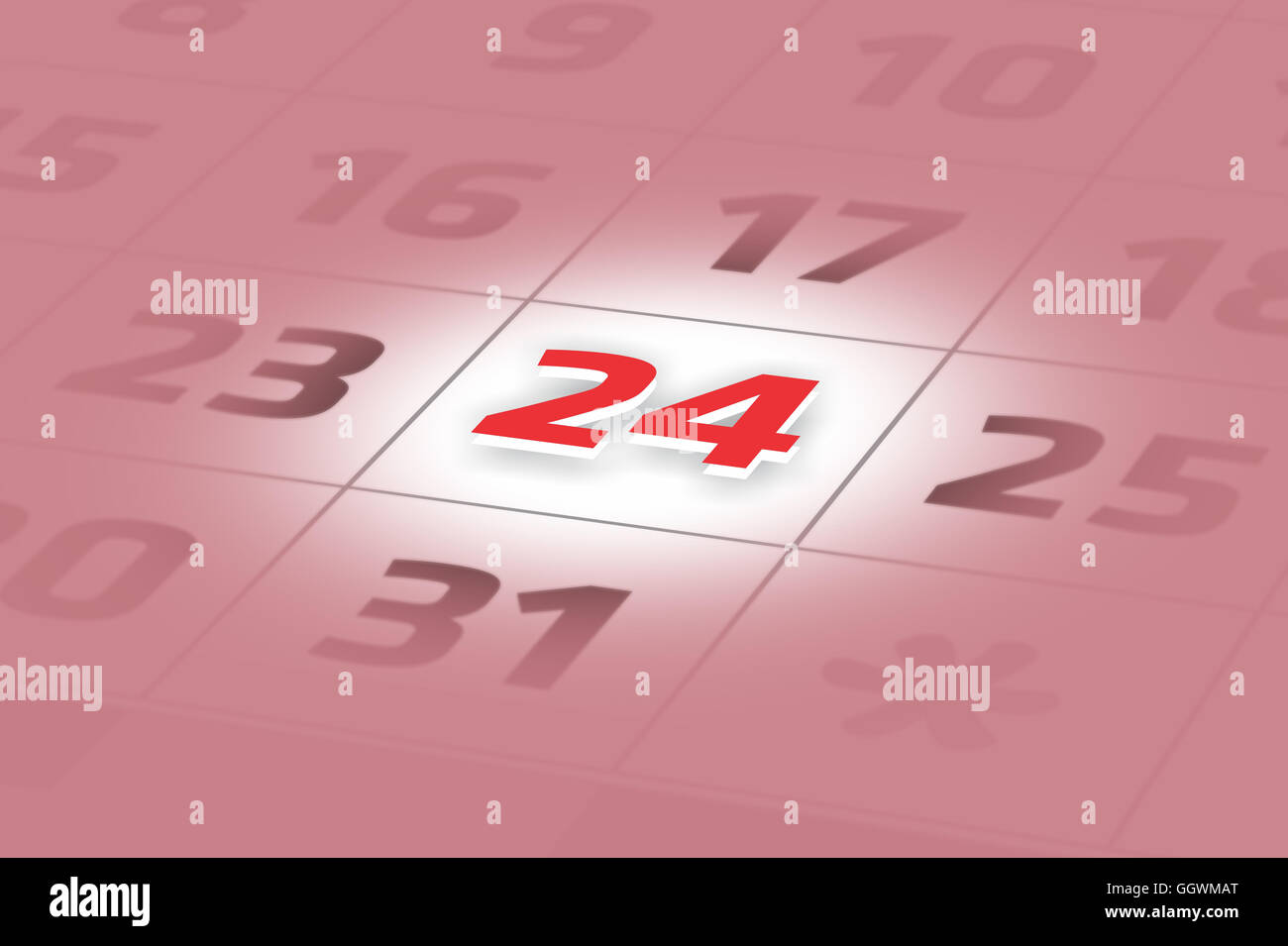 Illustration of calendar with a particular date being differentiated and focused. - Stock Image