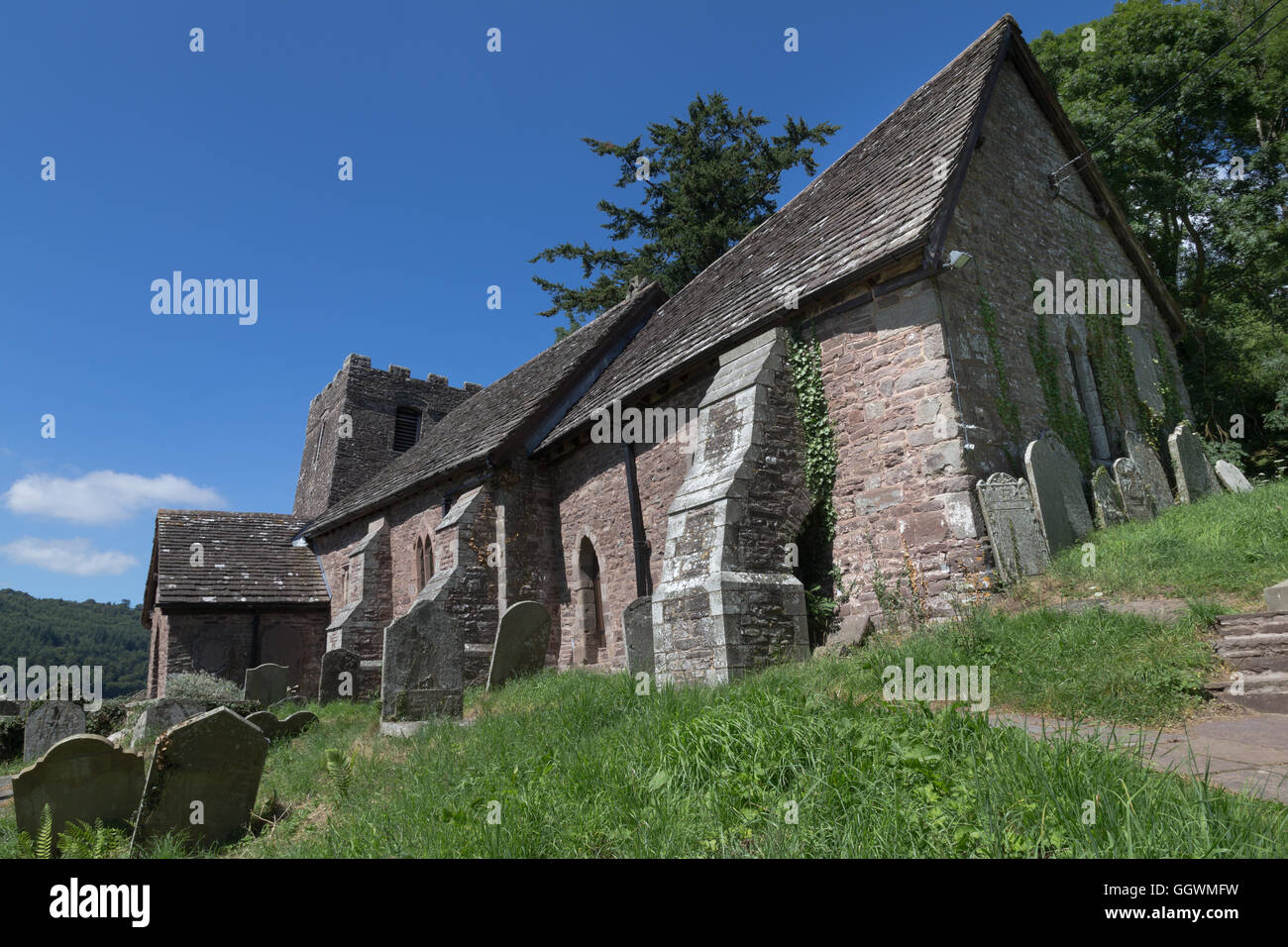 The charming crooked church of St Martin's at Cwmyoy, Monmouthshire. - Stock Image