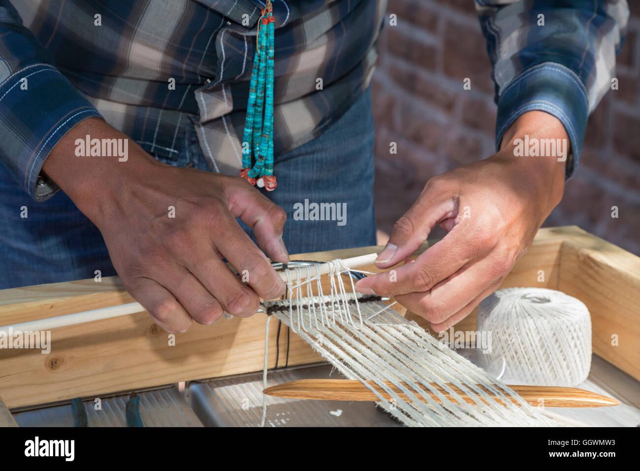 Ganado, Arizona - A sheep, wool, and weaving workshop at the Hubbell Trading Post on the Navajo Nation. - Stock Image