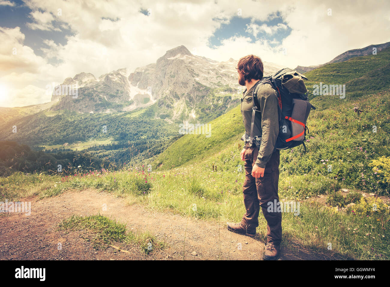 3ebd7316051e Traveler Man with backpack hiking Travel Lifestyle concept mountains on background  Summer journey adventure vacations outdoor
