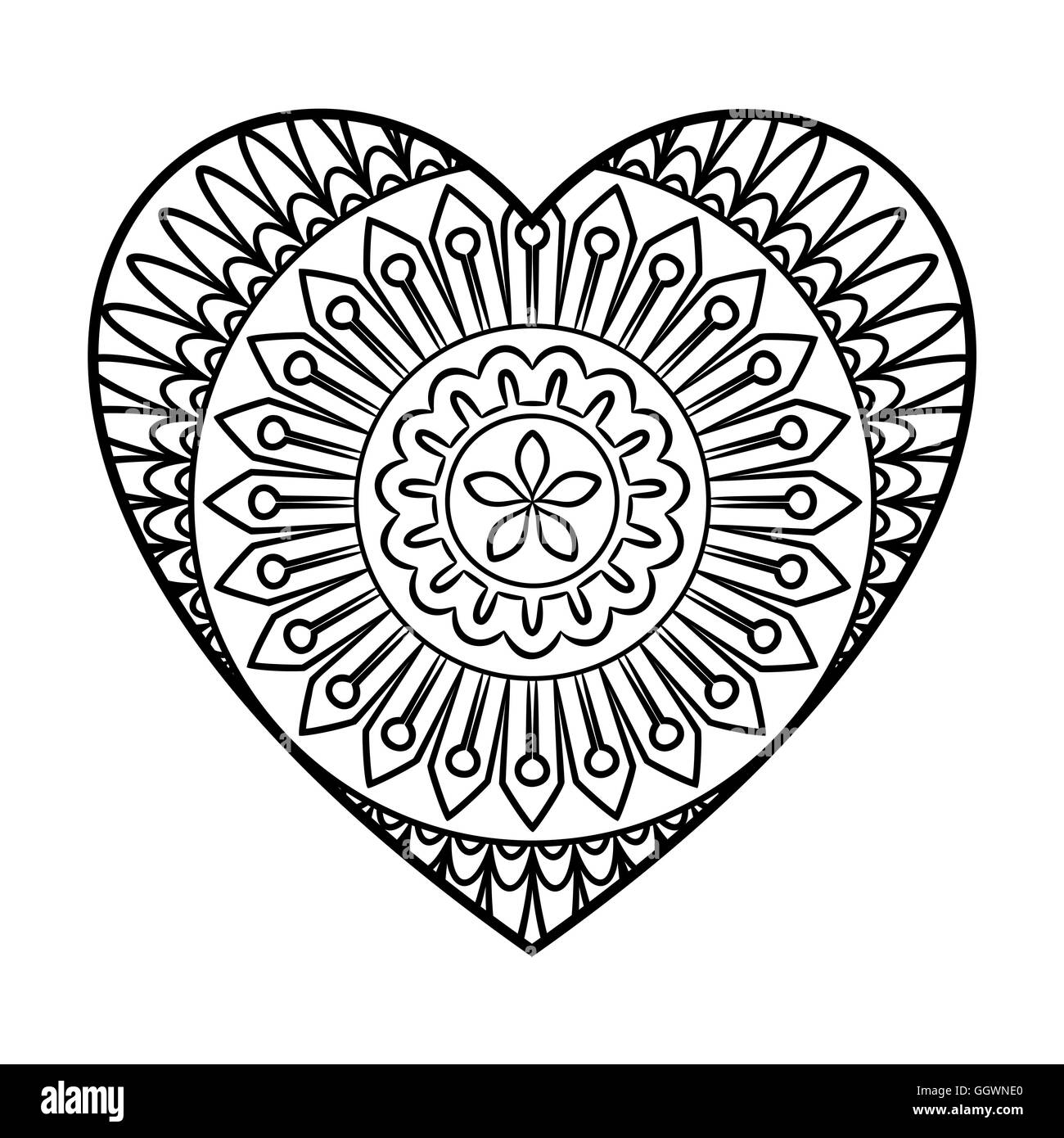 Doodle Heart Mandala Stock Vector Art Amp Illustration