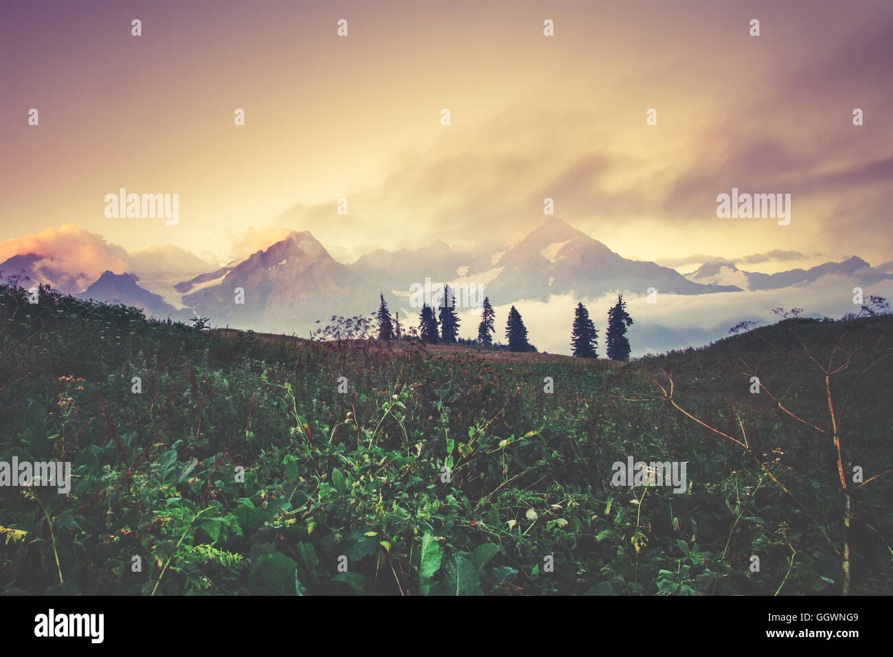 Sunset Mountains beautiful landscape summer travel scenic view - Stock Image