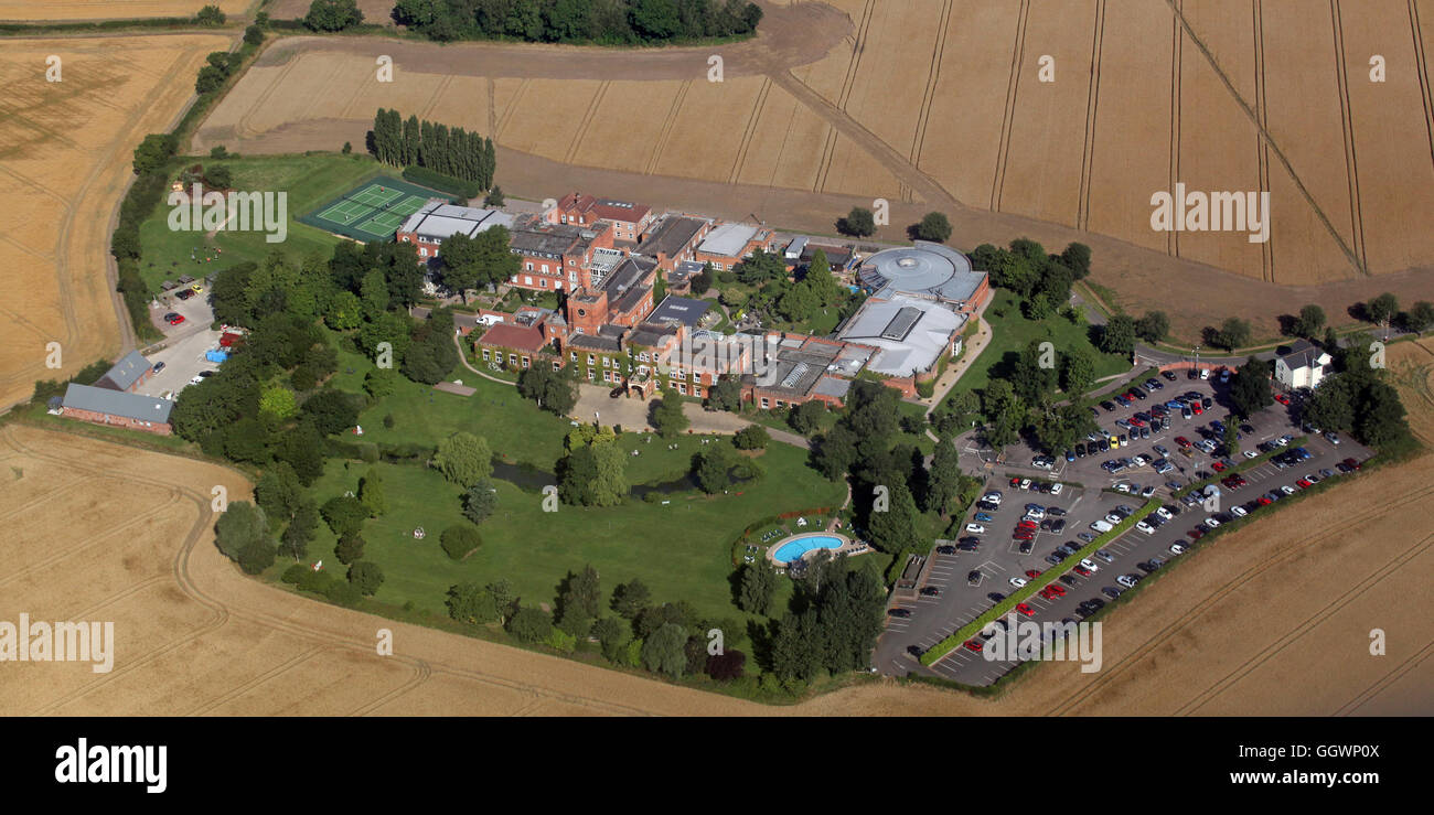aerial view of Ragdale Hall Health Hydro and Thermal Spa near Melton Mowbray, Leicestershire, UK - Stock Image
