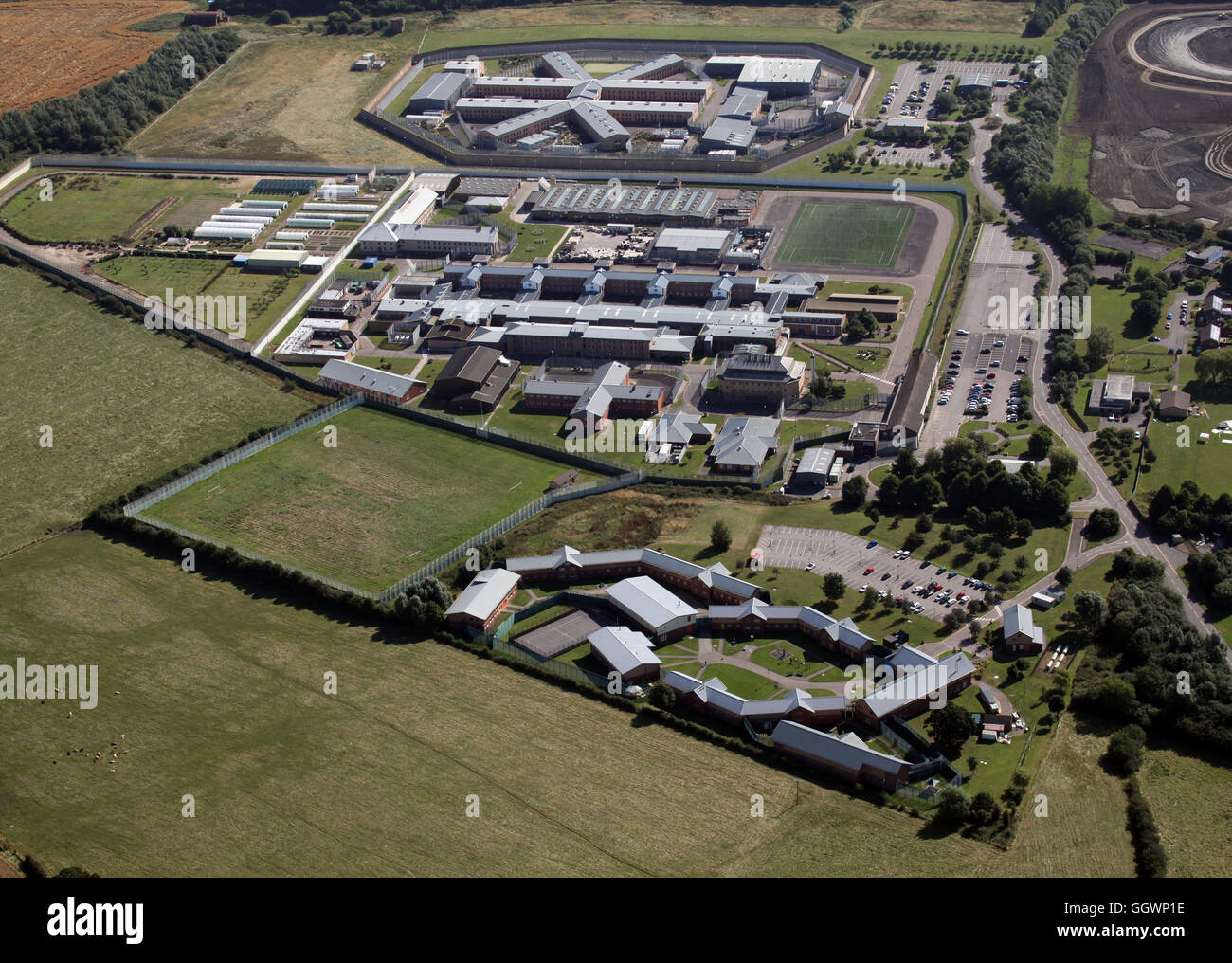 aerial view of Rainsbrook Secure Training Centre, HMP Onley & HMP Rye Hill near Rugby, UK - Stock Image