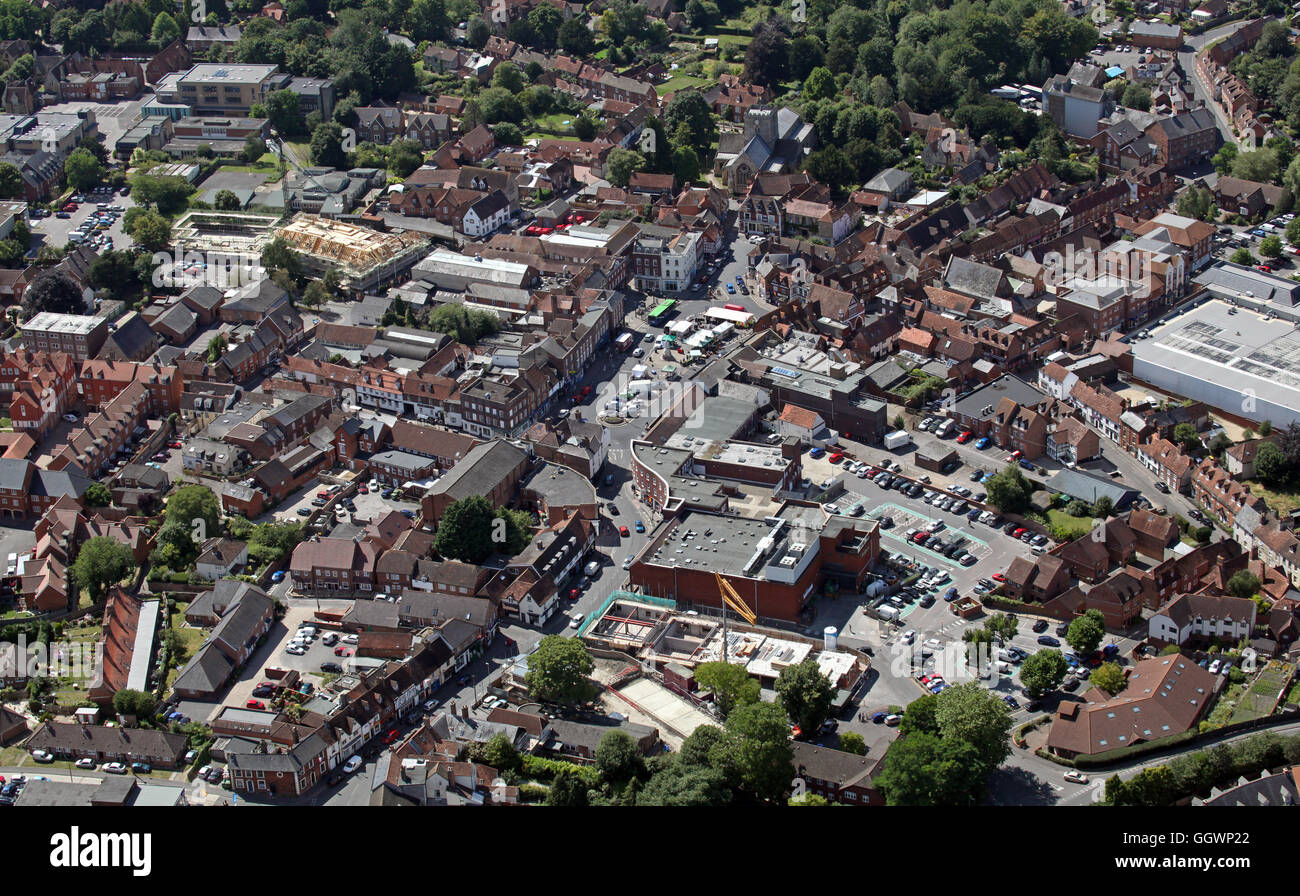 aerial view of Wantage town centre, Oxfordshire, UK - Stock Image