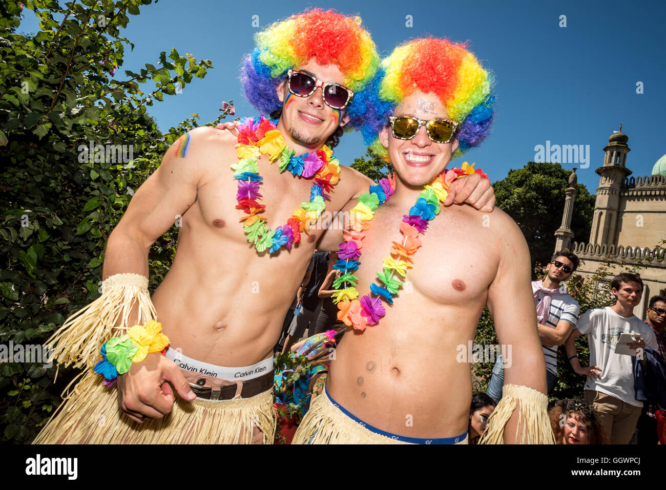 The Gay Pride march in Brighton, the UK's biggest Pride event, this year attended by more than a quarter of - Stock Image