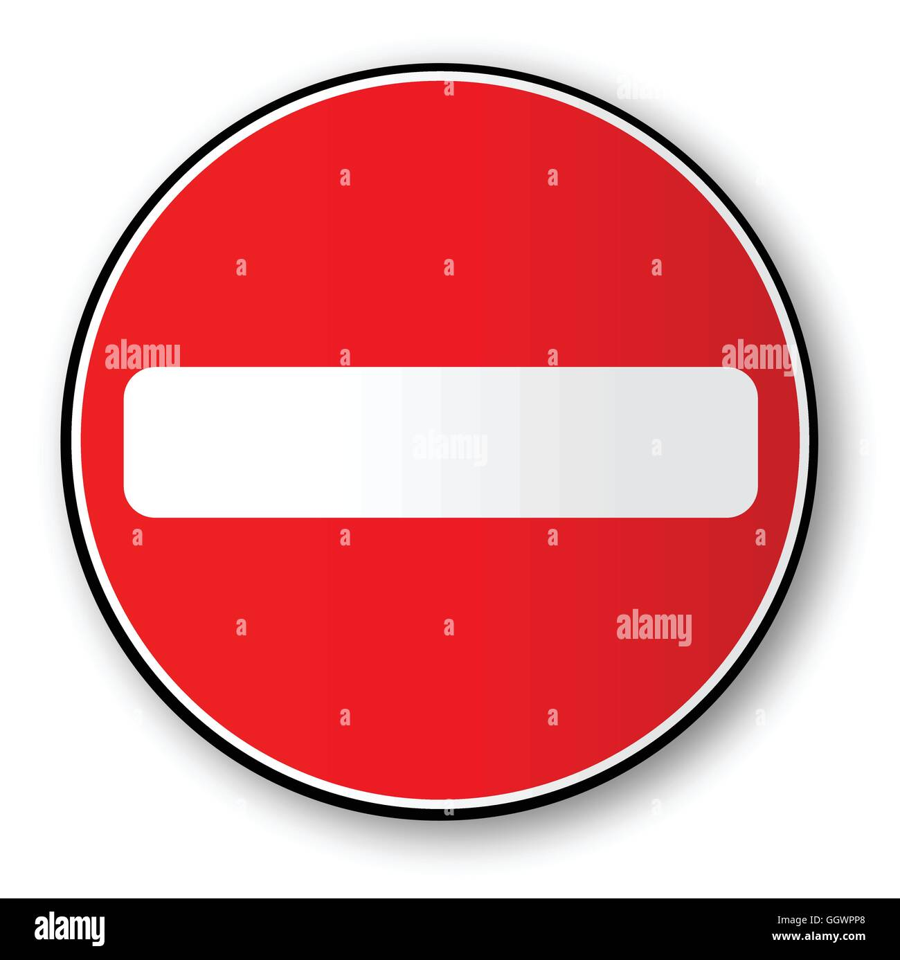 A large round red traffic no entry sign - Stock Image