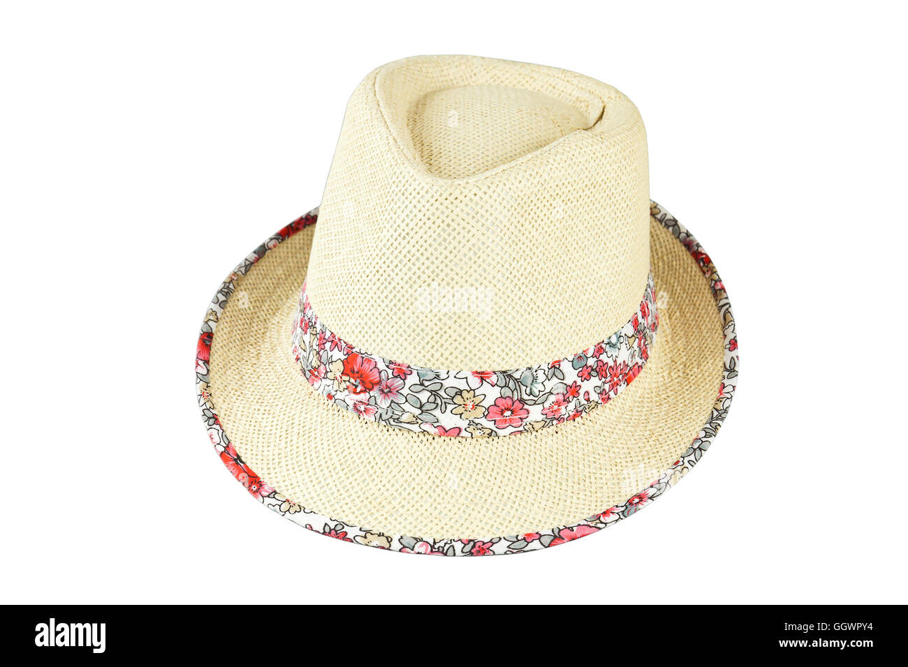 Beach straw hat isolated on white background Stock Photo