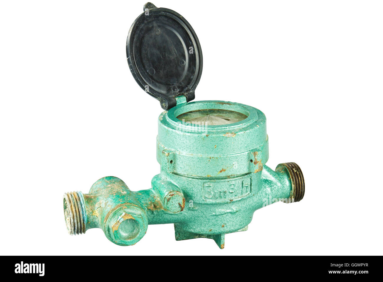 Old water meter isolated on white background - Stock Image
