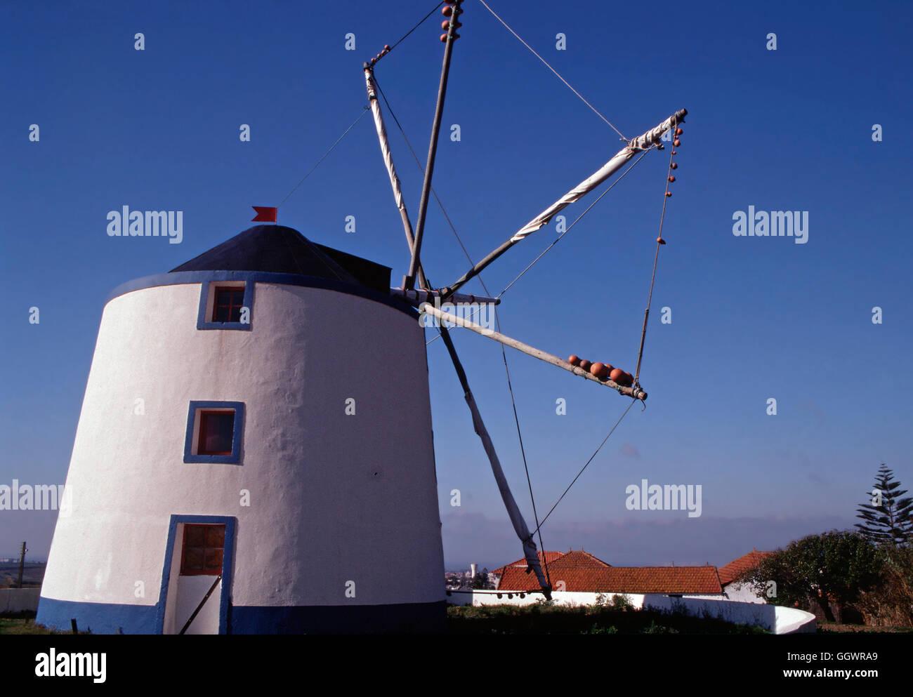 Windmill,Peniche,Portugal - Stock Image