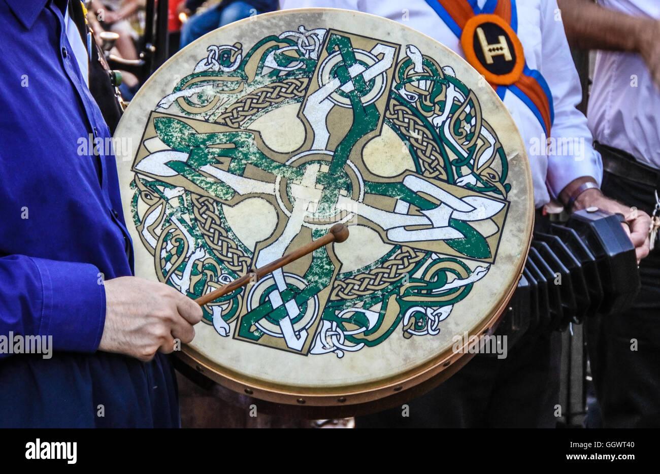 Celtic design on drum (bodhran) used by Morris dancer - Berkhamsted, UK - Stock Image