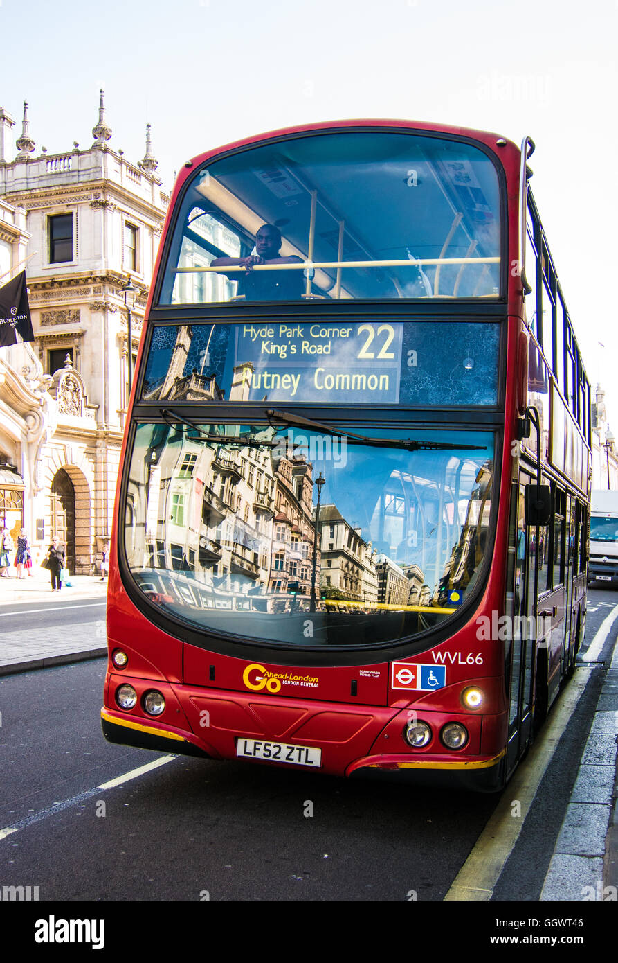 Reflections of Piccadilly Street on bus, London, UK - Stock Image