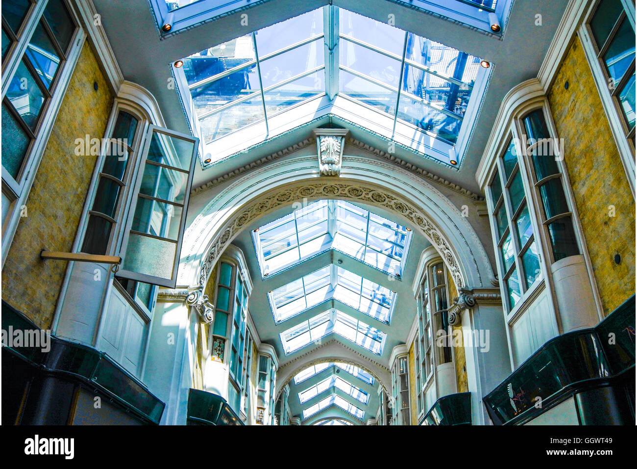 The Burlington Arcade in the exclusive Mayfair area of London's West End, was the world's first shopping - Stock Image
