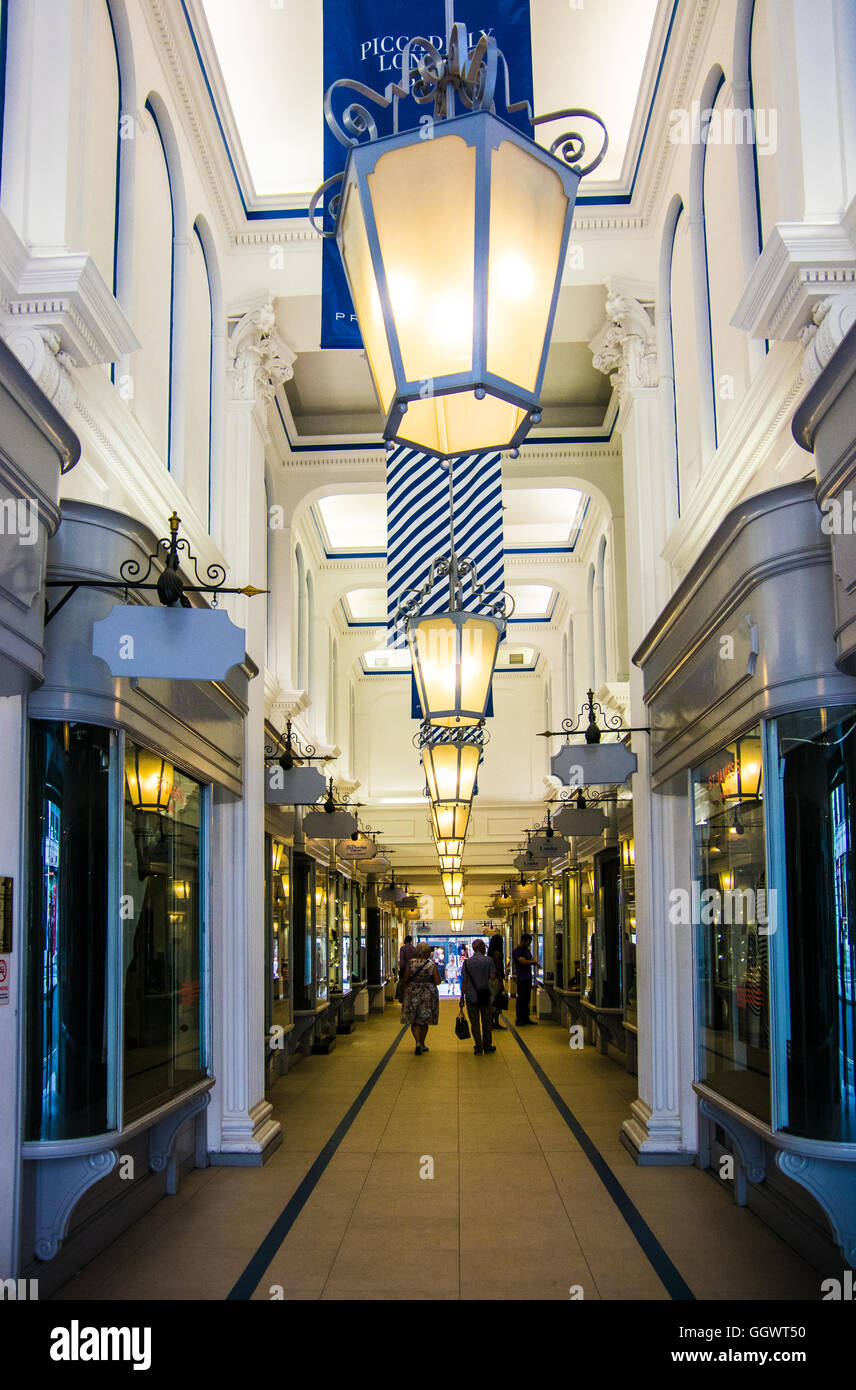 The Princess Arcade, opened in 1883, offers traditional quality, luxury and exclusive boutiques - London, UK Stock Photo