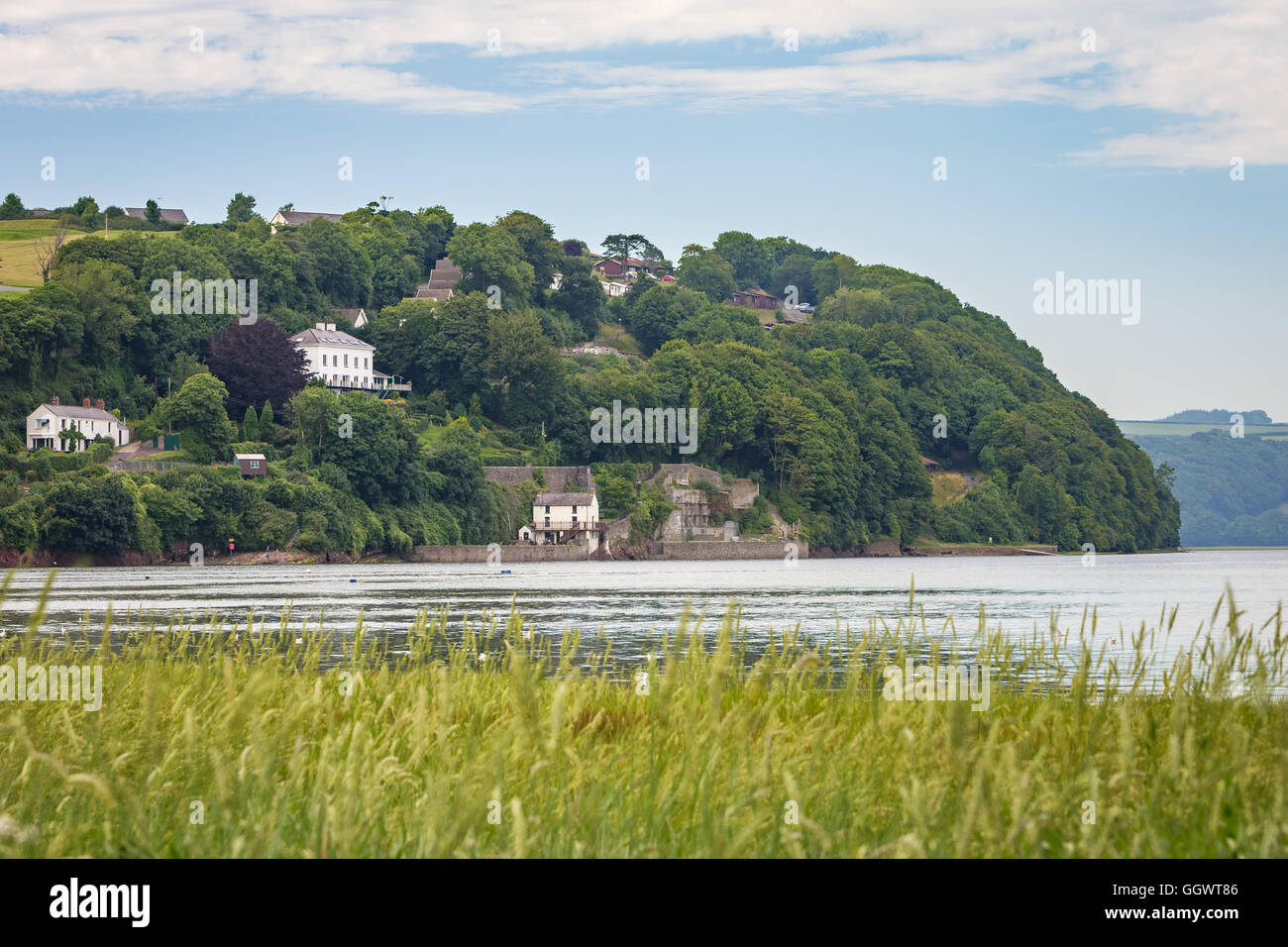 Dylan Thomas boathouse, Laugharne, Carmarthenshire, Wales, UK - Stock Image