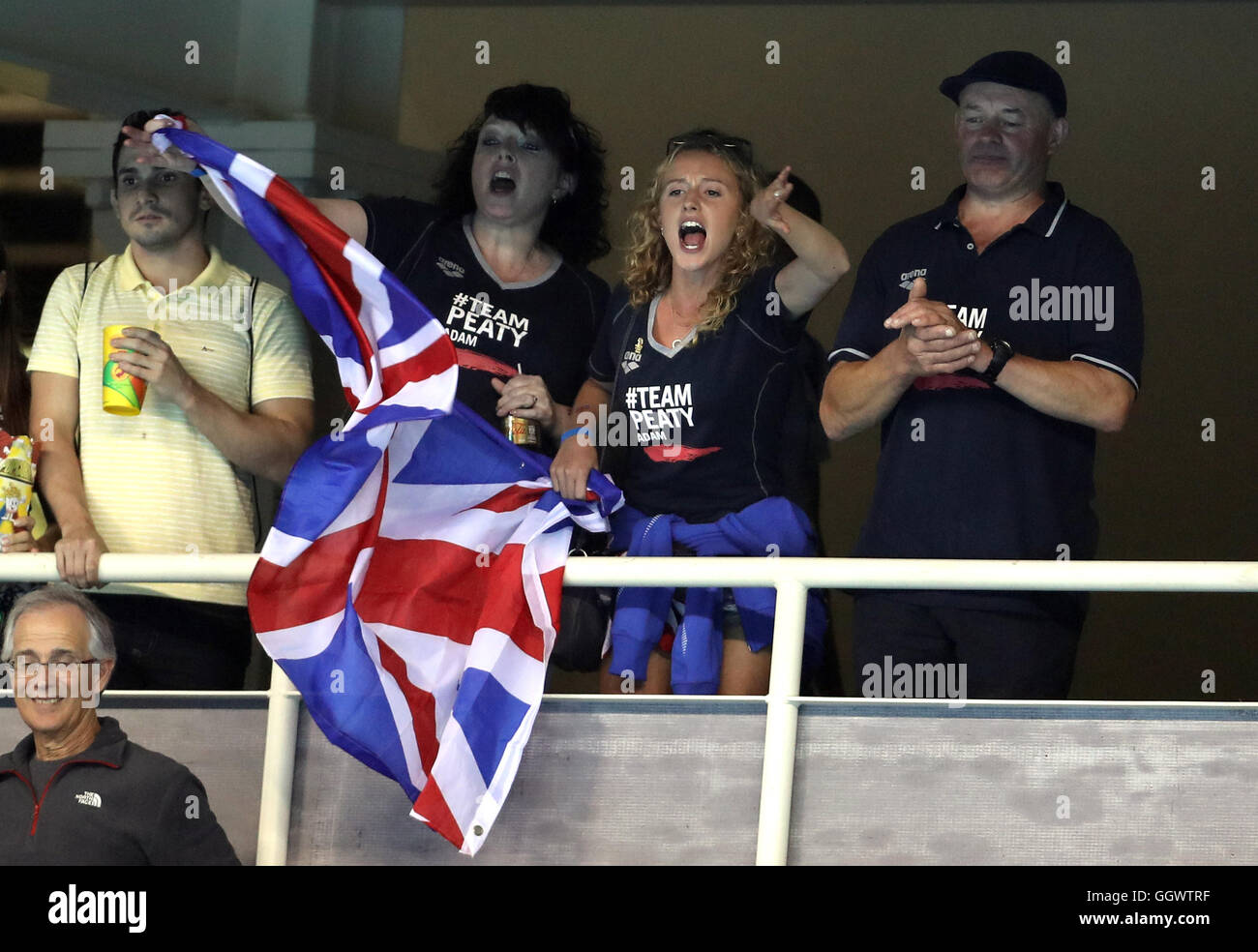 Mark and Caroline Peaty who await the Men's 100m Final where their son will Adam will race for an Olympic medal - Stock Image