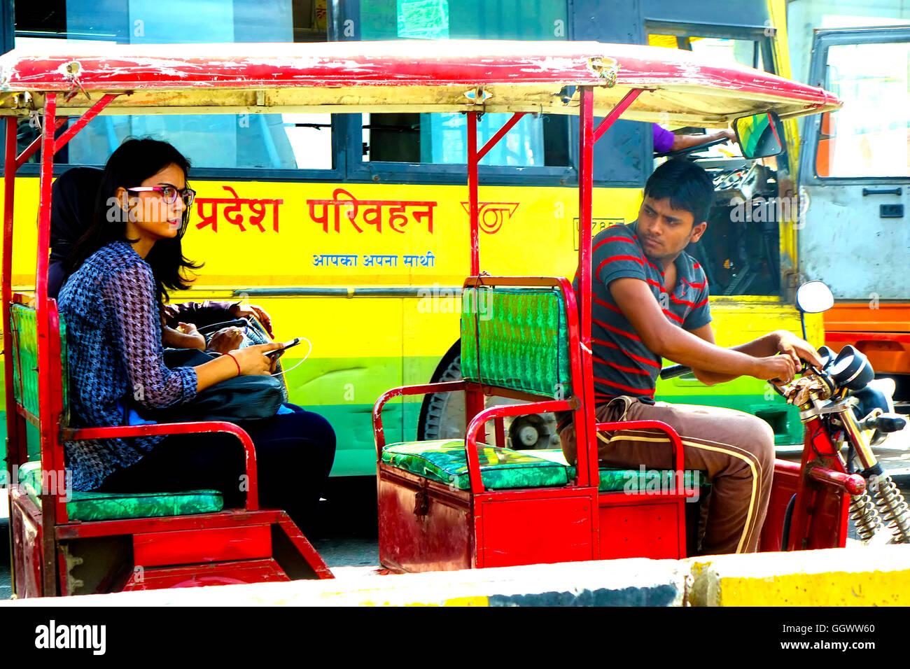 Eco-friendly 'auto' seen plying in NOIDA in Delhi-NCR, India - Stock Image