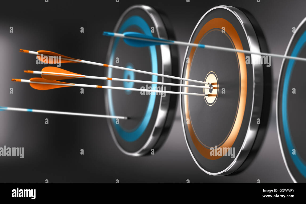 3D illustration of targets ans arrow with focus on three orange arrows in the center of one target - Stock Image