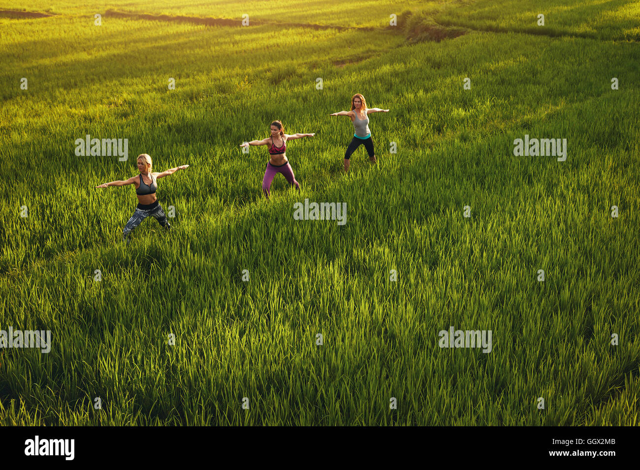 Outdoor shot of yoga class in farm land. Young people doing yoga workout in farm. Three young women exercising in - Stock Image
