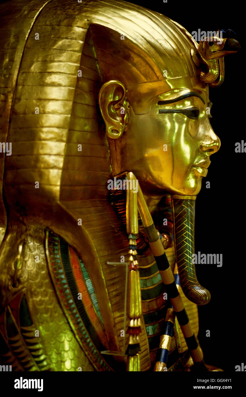 From the Treasures of Tut Ankh Amun in the Egyptian Museum in Cairo - the gold second coffin. Egypt. - Stock Image