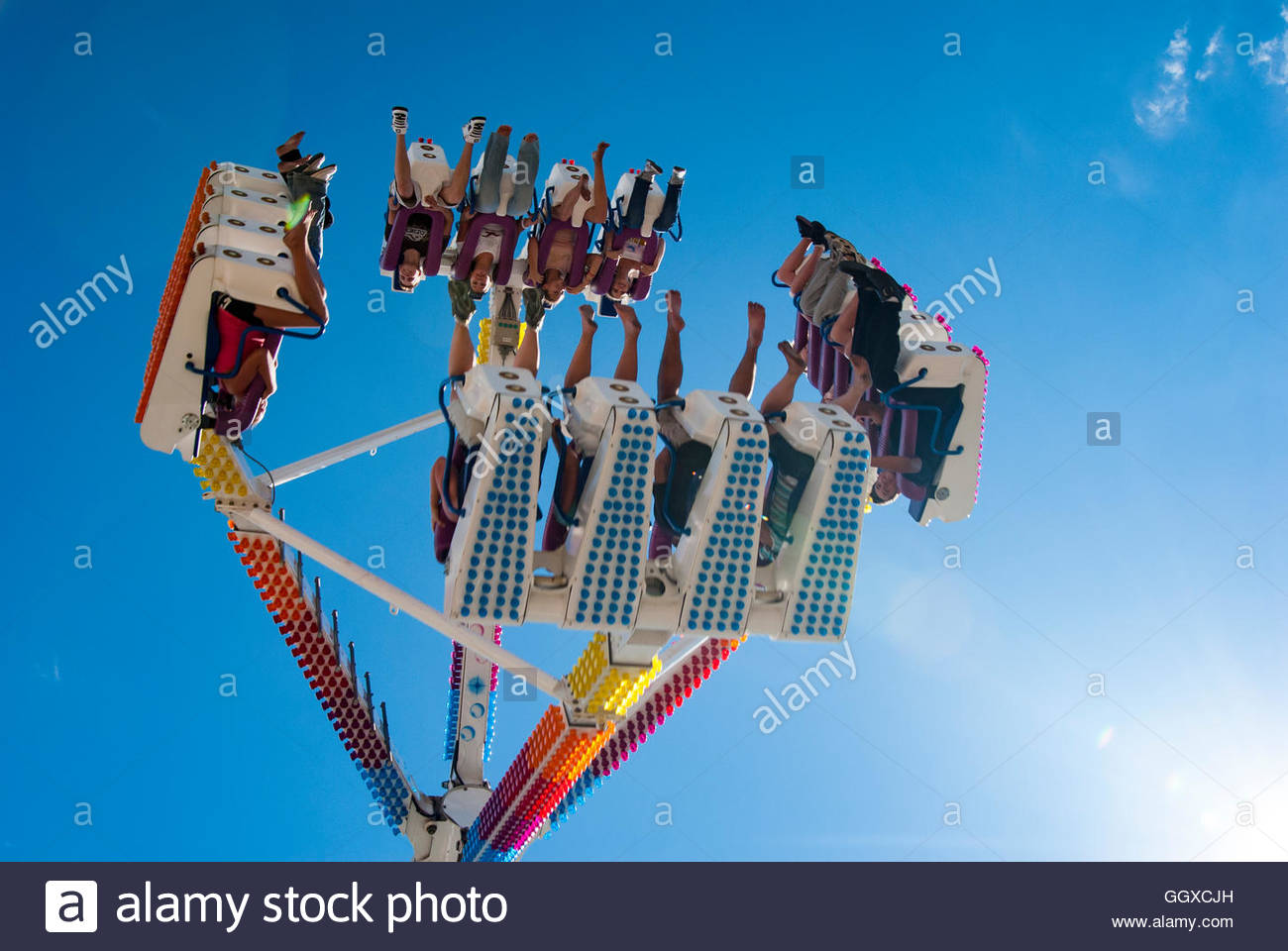 Kids get a ride into the sky at the Woodstock Fair in Woodstock, Connecticut - Stock Image