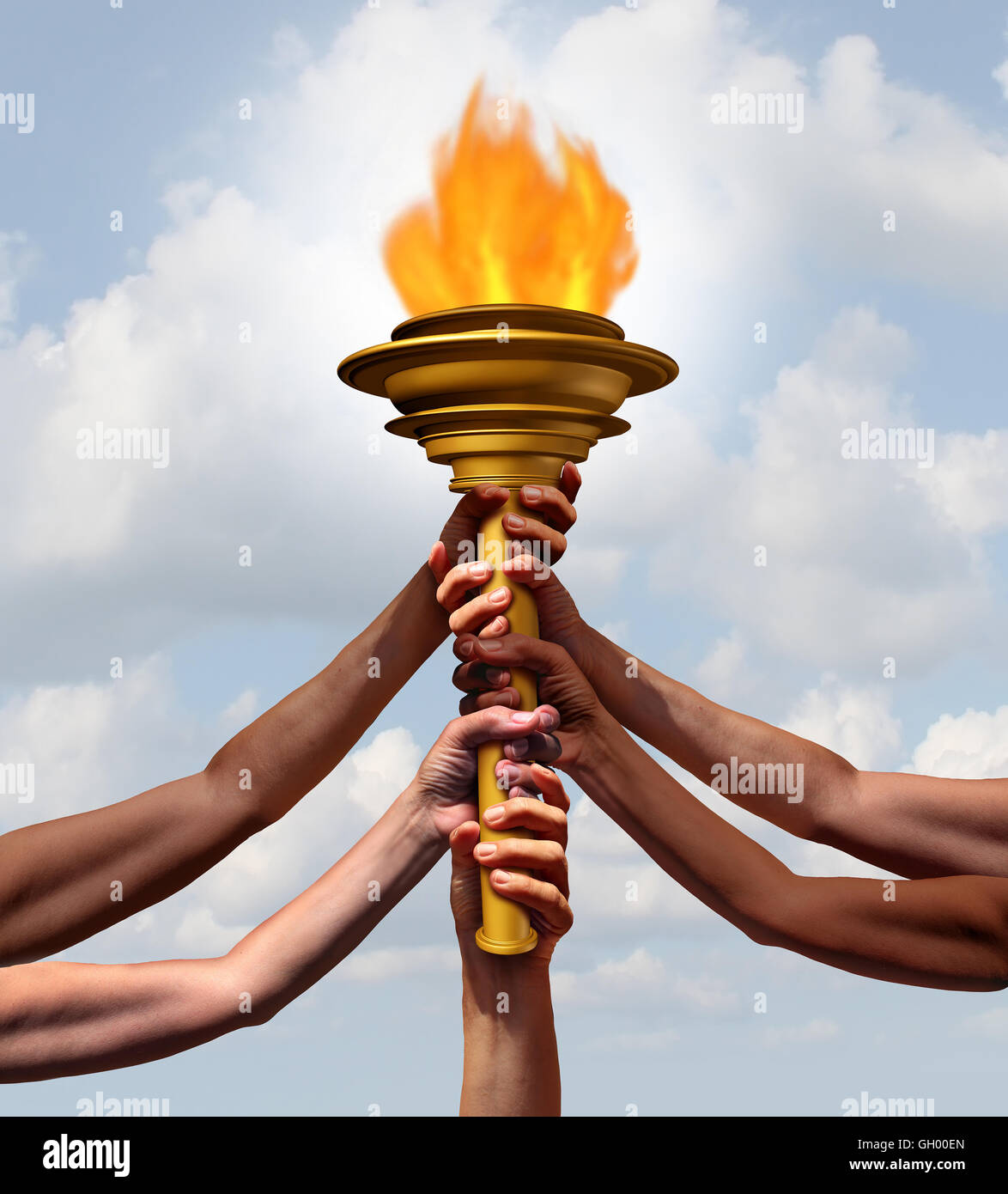 People holding a torch flame symbol as a group of diverse athletes or community members joining in lifting a cresset - Stock Image