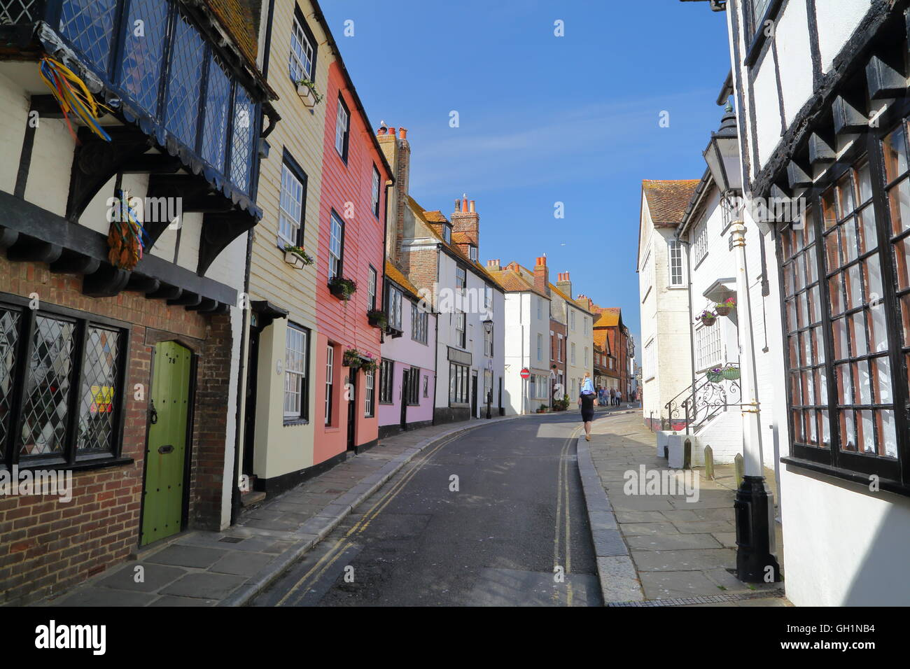 All Saints Street in Hastings Old town with colourful houses, Hastings, Sussex, Great britain - Stock Image