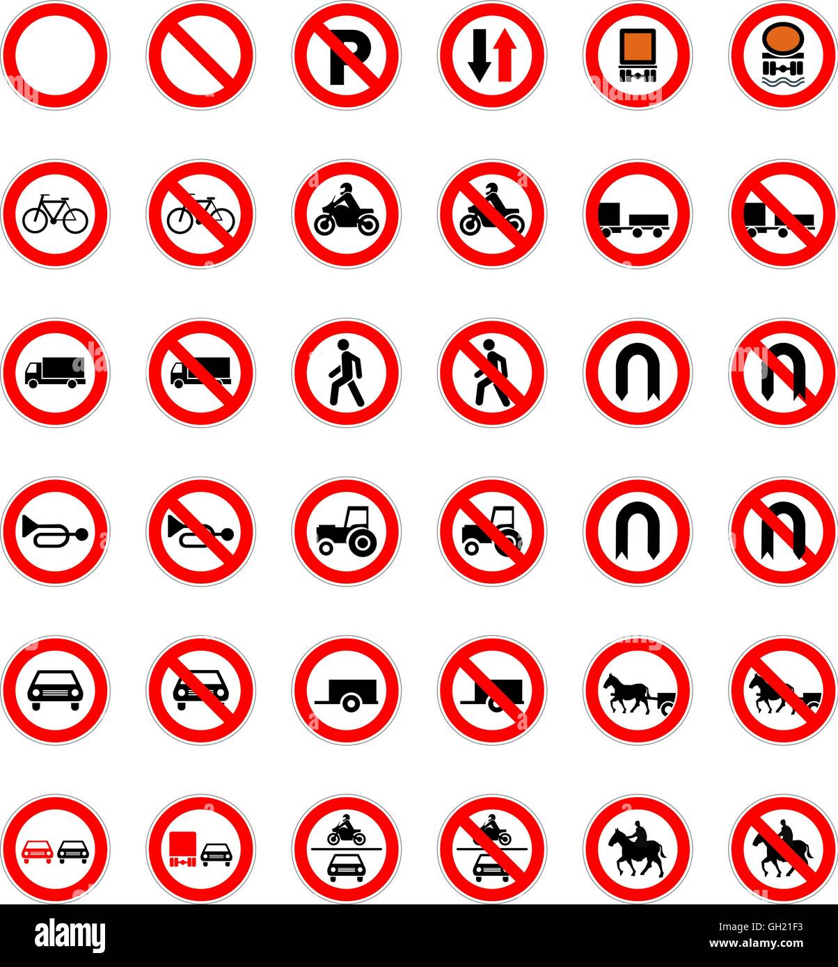 Set of forbidden road signs isolated on white Stock Vector