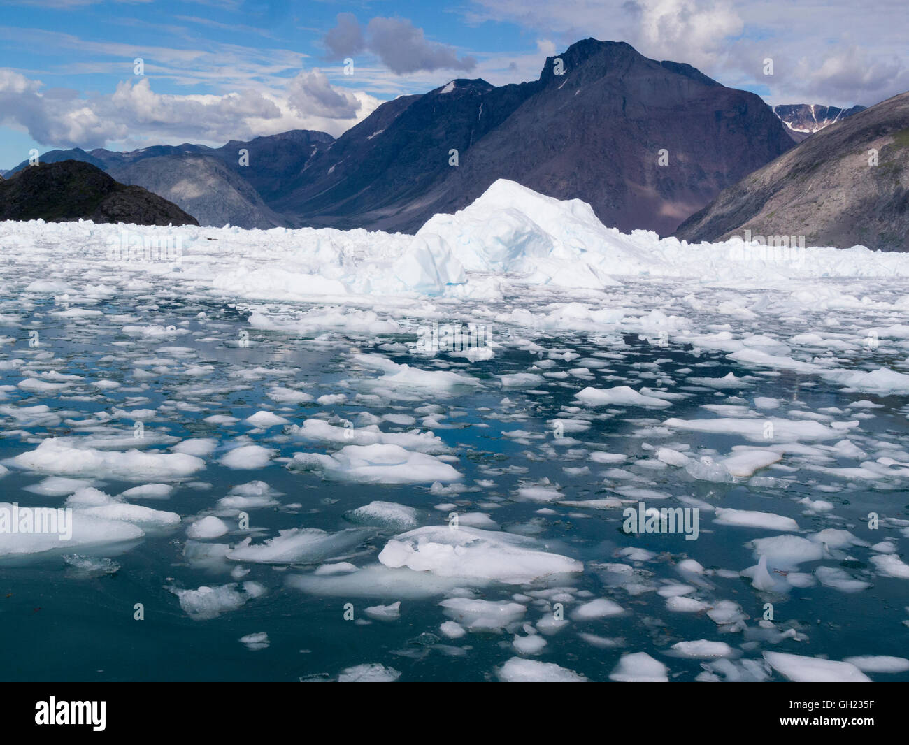 View Qooroq Ice Fjord fed from Greenland Ice Sheet glacier,Southern Greenland from  small tourist boat on a lovely Stock Photo