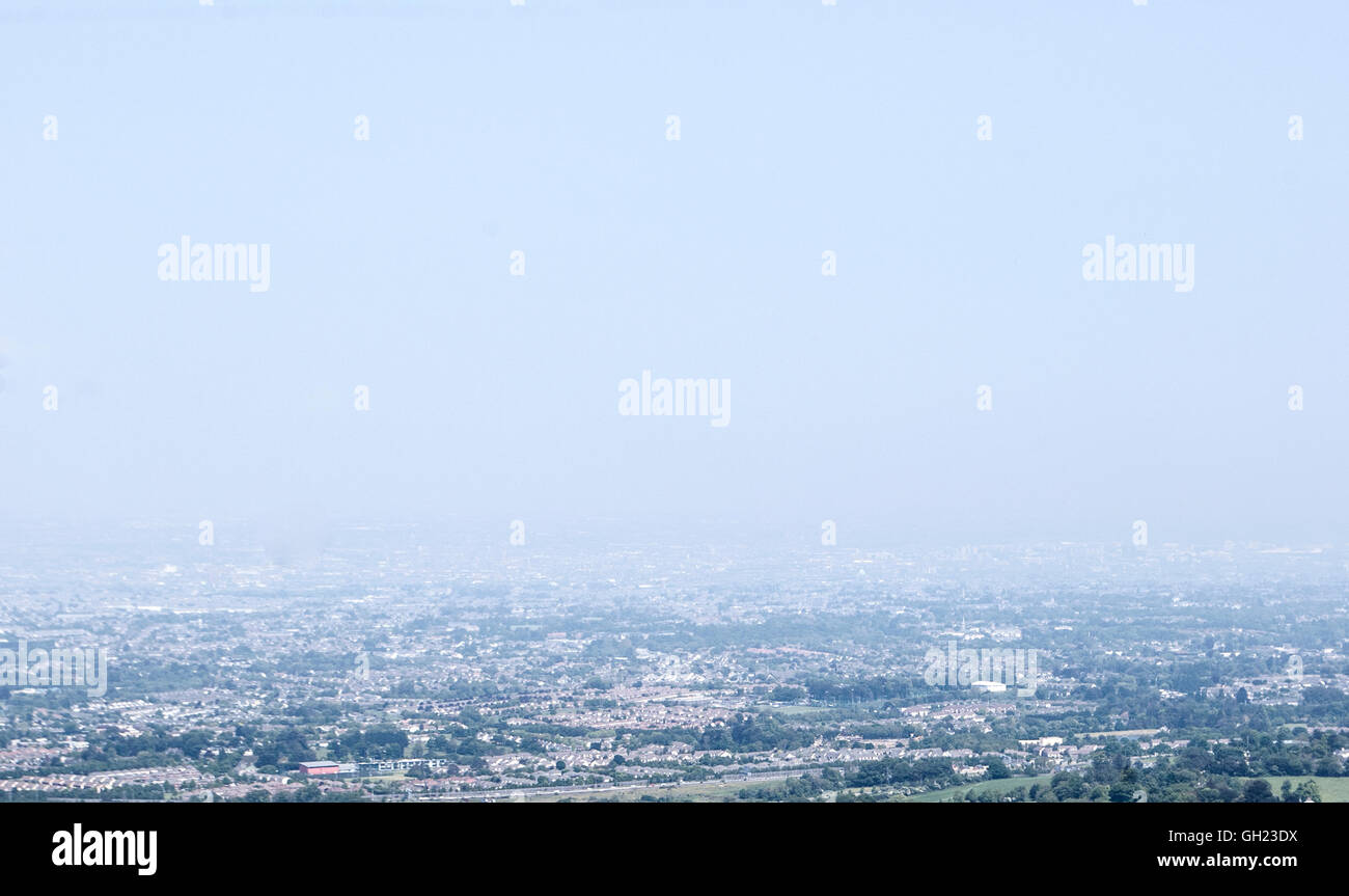 Dublin cityscape on a warm humid day in spring - Stock Image