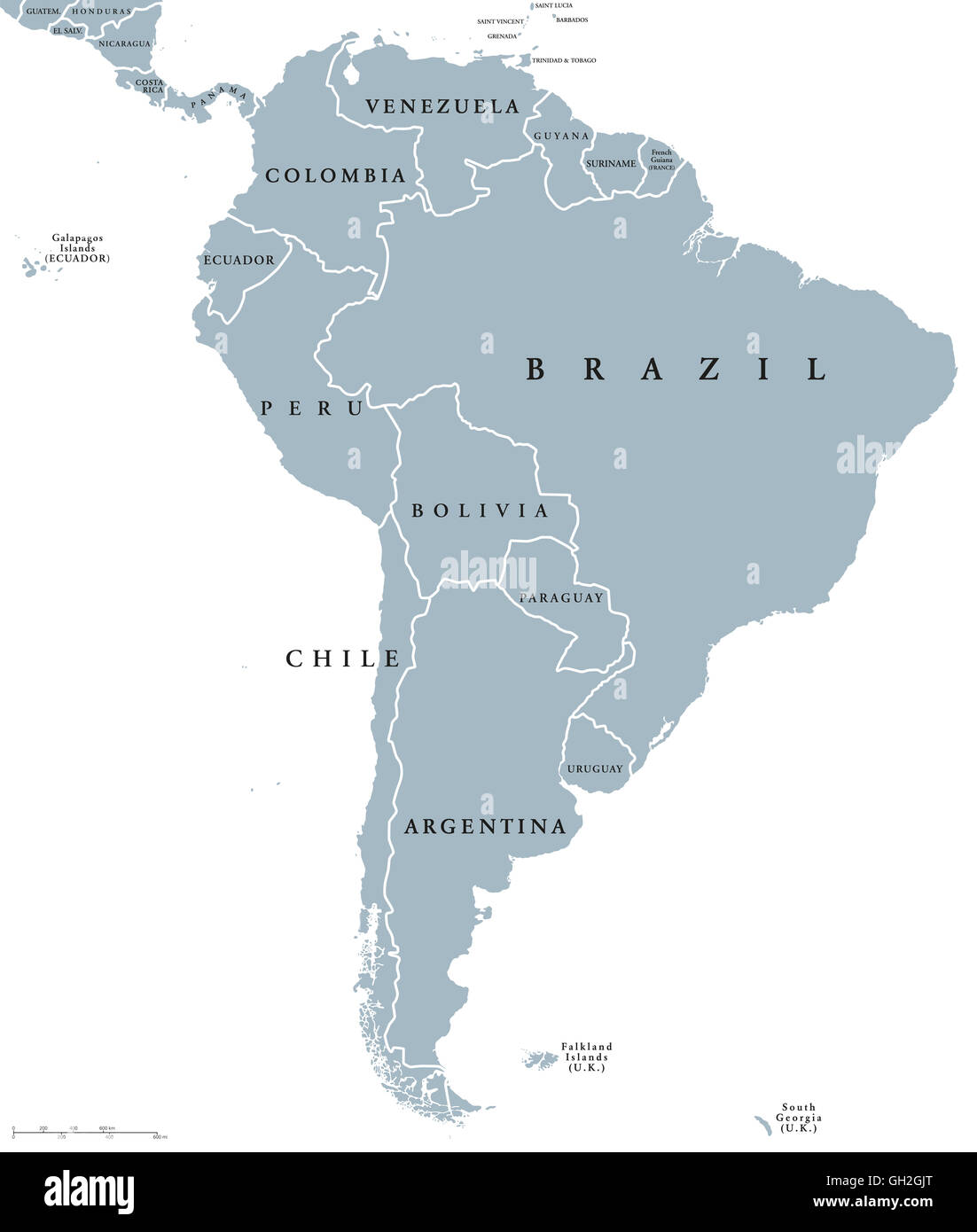 South America countries political map with national borders Stock