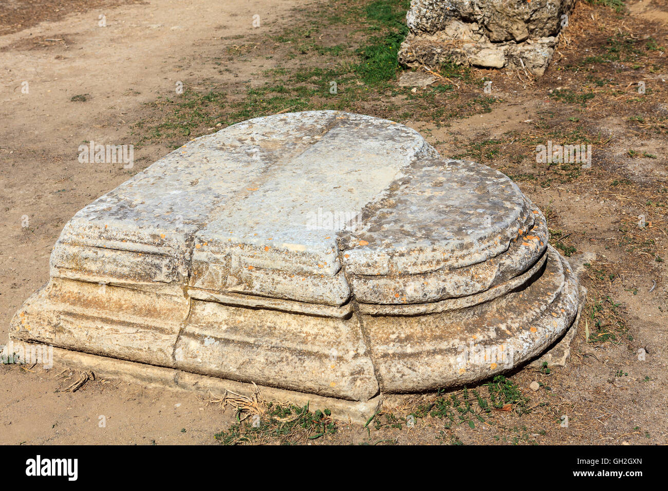 Heart shaped plinth at the archaeological site of Salamis in Famagusta, Cyprus. - Stock Image