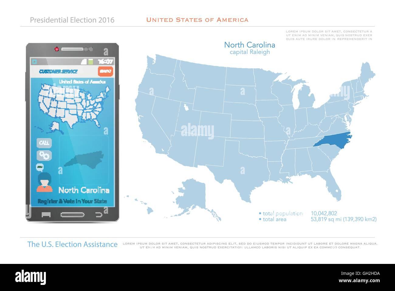 United States Of America Maps And North Carolina State Territory - North-carolina-map-us