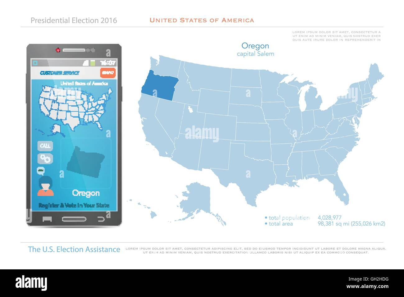 Map Of America Oregon.United States Of America Maps And Oregon State Territory Vector Usa