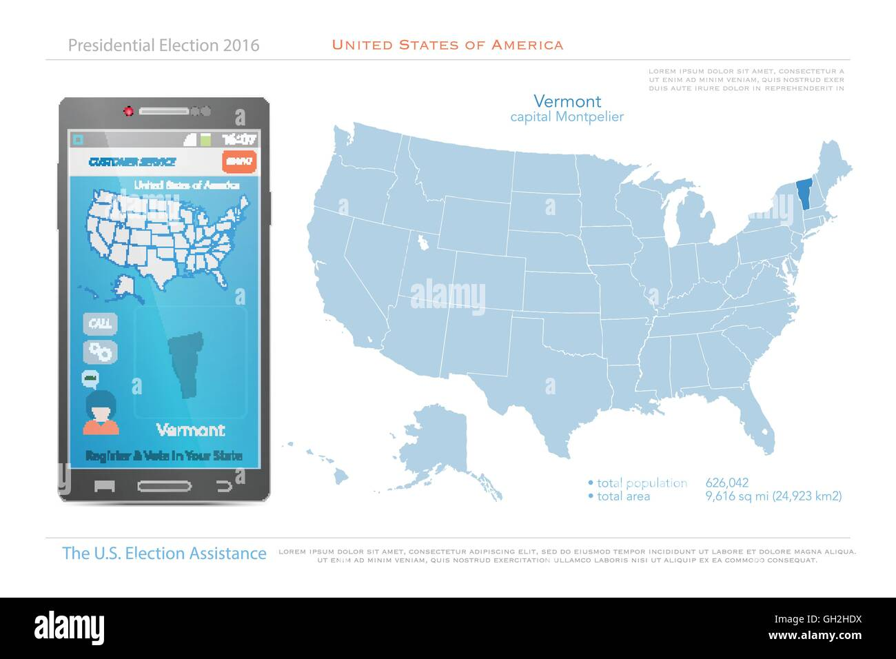 United States of America maps and Vermont state territory. vector ...