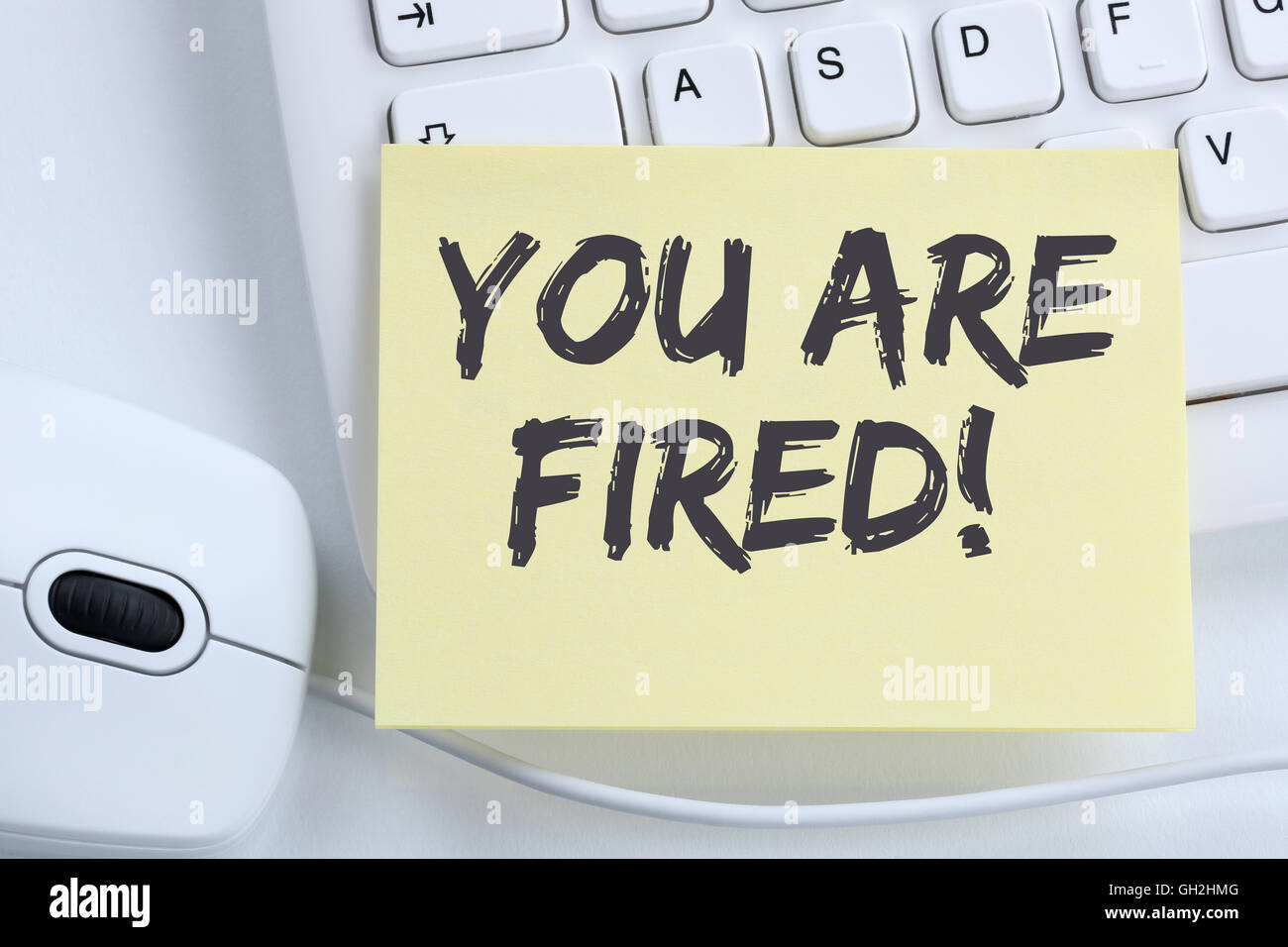 You are fired employee losing jobs, job working unemployed business concept office computer keyboard - Stock Image