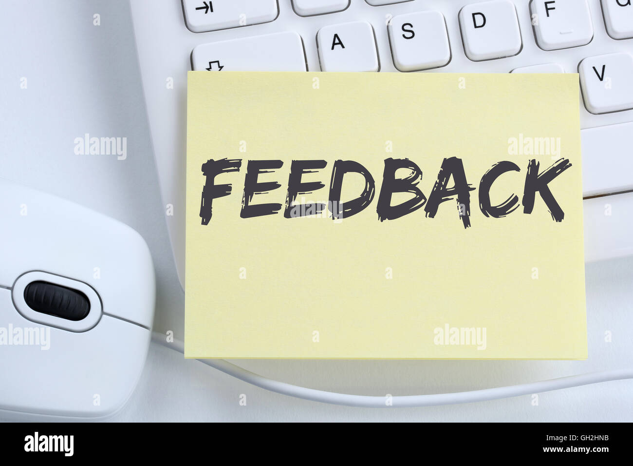 Feedback contact customer service opinion survey business concept review office computer keyboard - Stock Image
