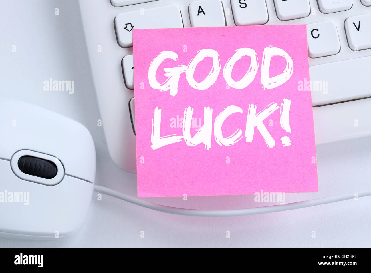Good luck success successful test wish wishing office computer keyboard - Stock Image