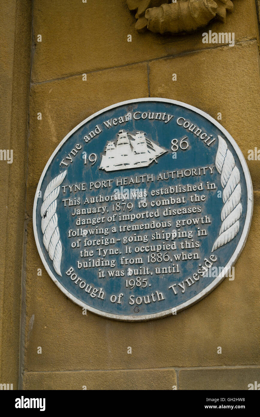 Victorian Tyne Port Health Authority plaque on old building at Harton Quay, South Shields, UK - Stock Image